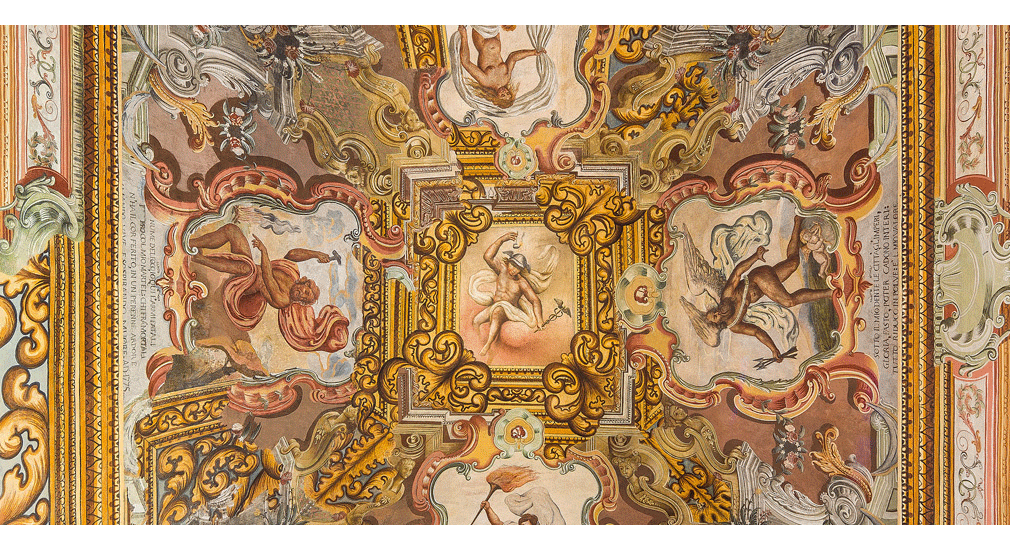 mythological themes on the ceiling frescoes of Castello di Ugento
